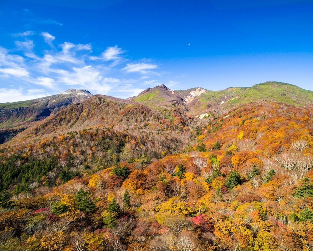 紅・黄・橙、秋の那須に染まる。眼下に見下ろす紅葉は絶景です。